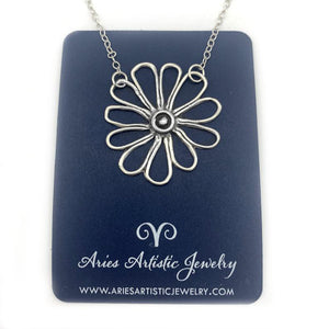 Whimsical Fine Silver Flower Necklace for Nature Lovers
