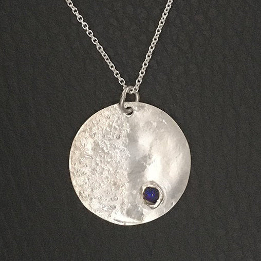 Sterling Silver Moon Necklace with Raw Sapphire Gemstone