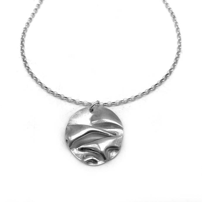 Fold Formed Silver Necklace Abstract Round Pendant