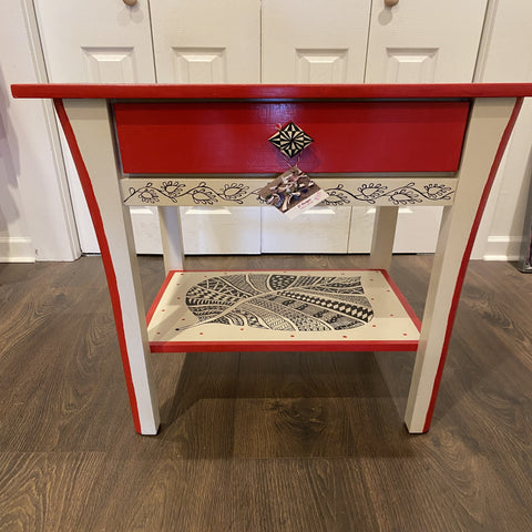 red and white mandala painted side table by local Central Jersey artist Esther from E. Designs