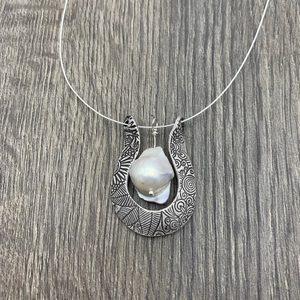 Sterling Silver Horseshoe Necklace with Baroque Pearl Accen