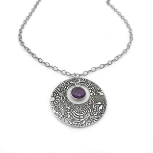 Sterling Silver Necklace with Amethyst Gemstone Charm