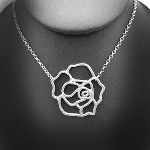 Silver Rose Necklace Nature Jewelry