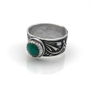 Sterling Silver Malachite Wide Ring Band with Celtic Design