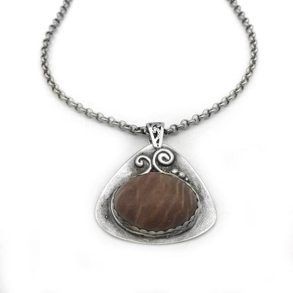 Sterling Silver Necklace with Natural Stone Pendant