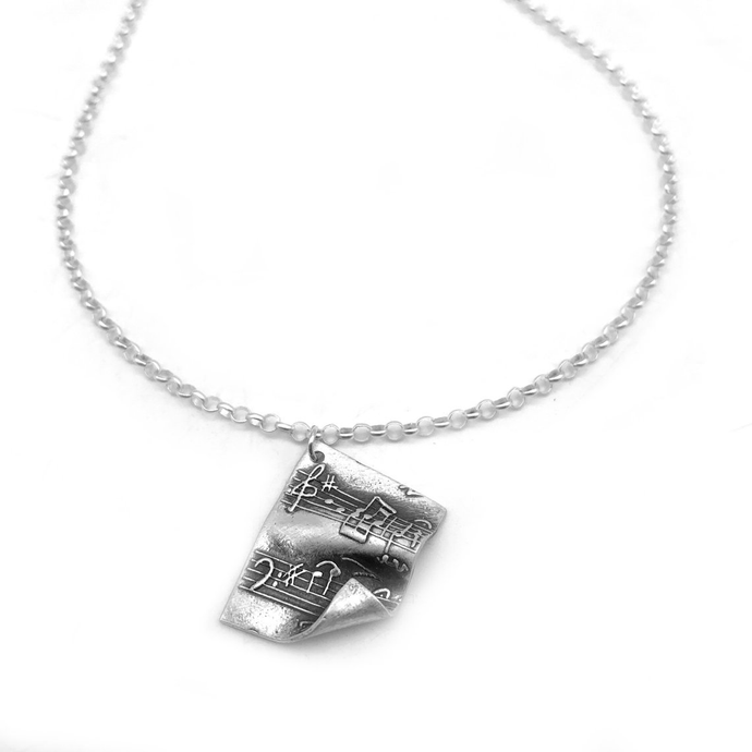 Handmade Fine Silver Musical Necklace Music Sheet Pendant
