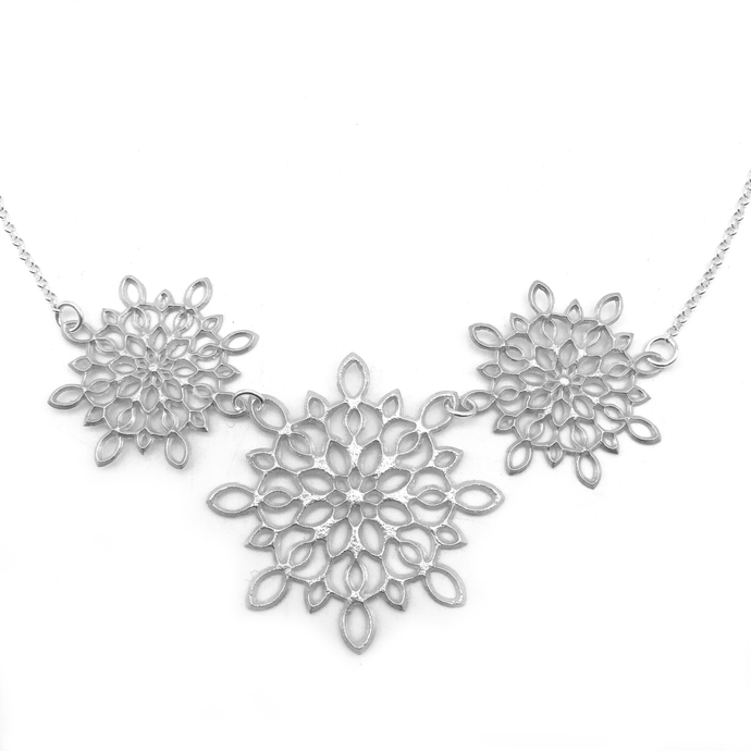 Sterling Silver Filigree Necklace with Multiple Snowflakes