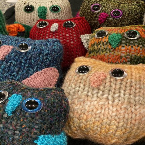 Owl yarn baby's knitted by local NJ artist