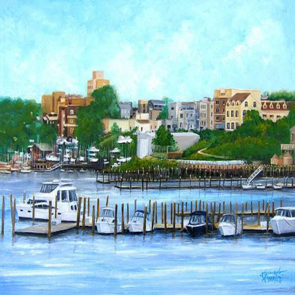 Red Bank from the Molly Pitcher Hotel oil painting by Leonardo Ruggieri