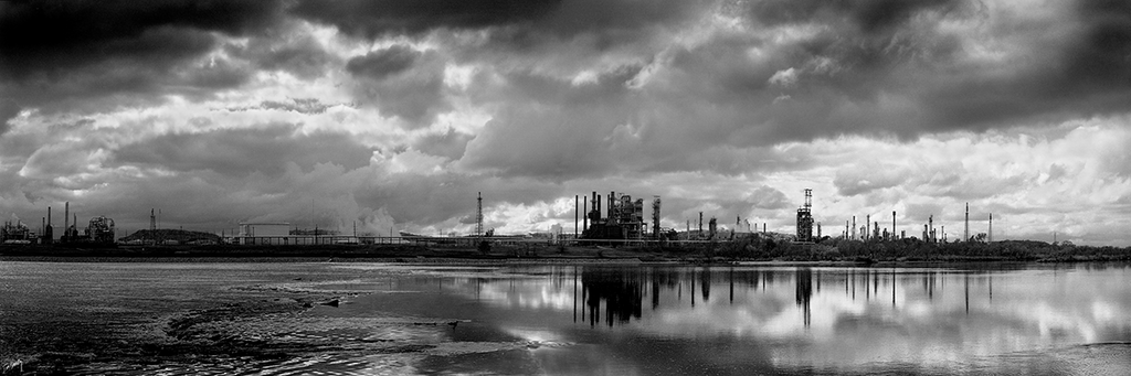 Arkansas River Panorama #3 - black and white oil refinery photograph