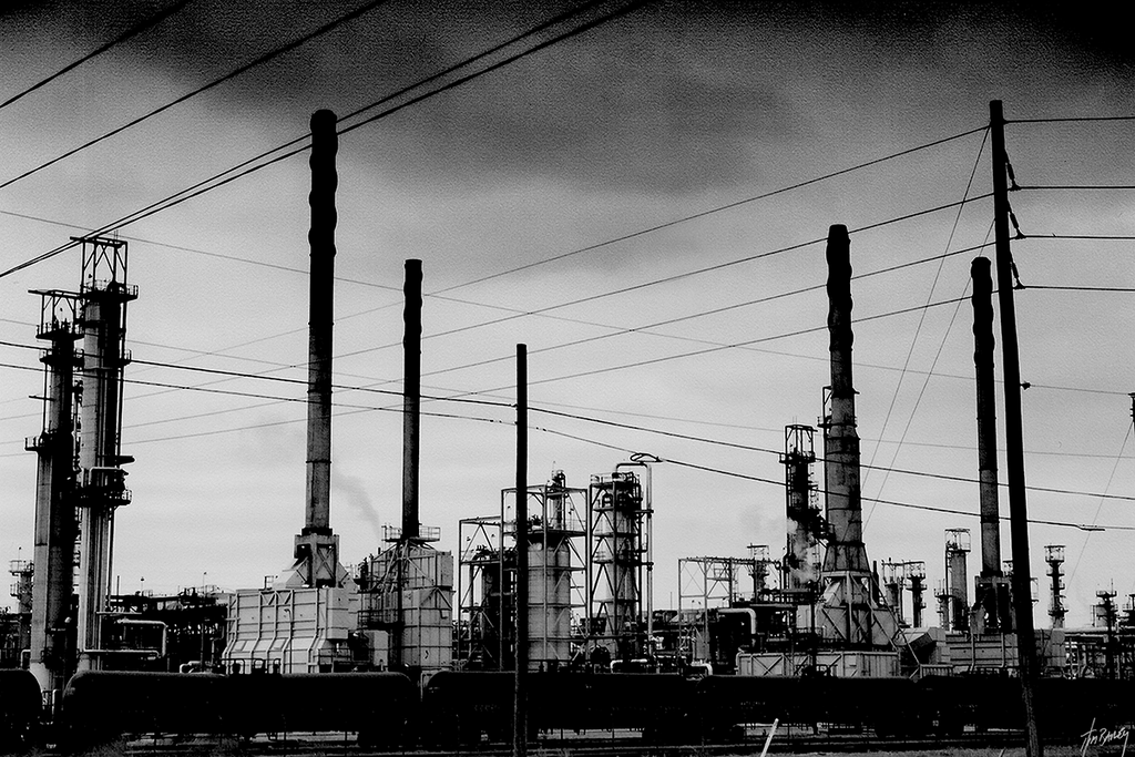 Blackened - black and white industrial oil refinery photograph
