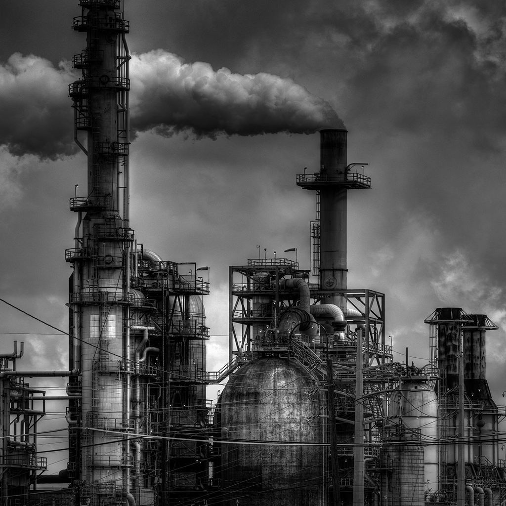Breathe - black and white industrial oil refinery post apocalyptic photograph