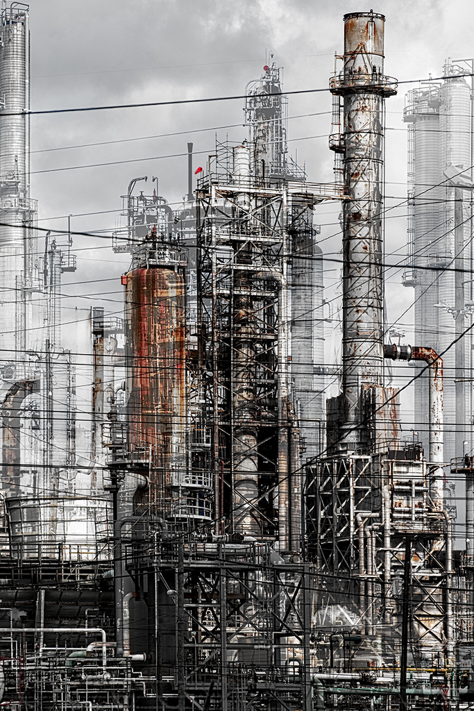 Cat's Cradle - industrial art, vertical oil refinery, photo composite