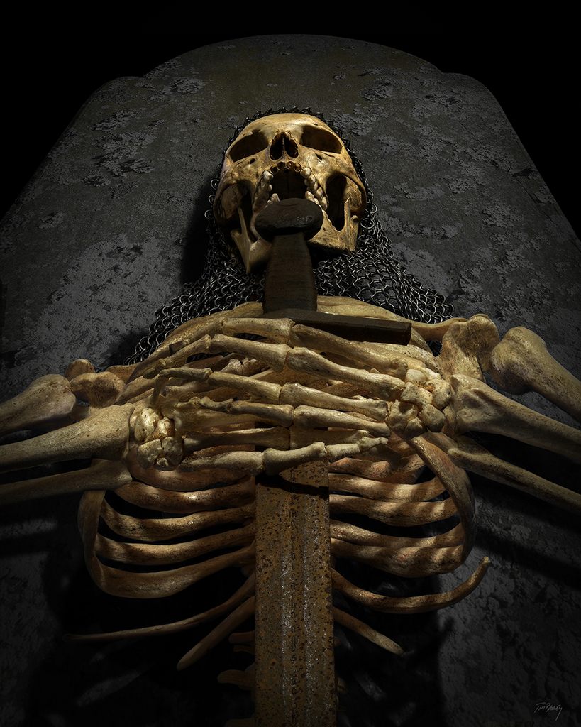 The Forgotten King - dark medieval skeleton skull viking sword photograph