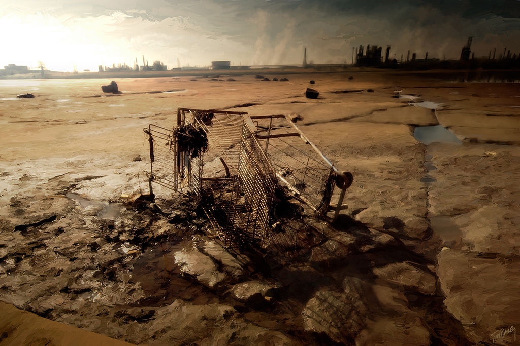 Empty Cart - digital painting of post apocalyptic industrial future scene