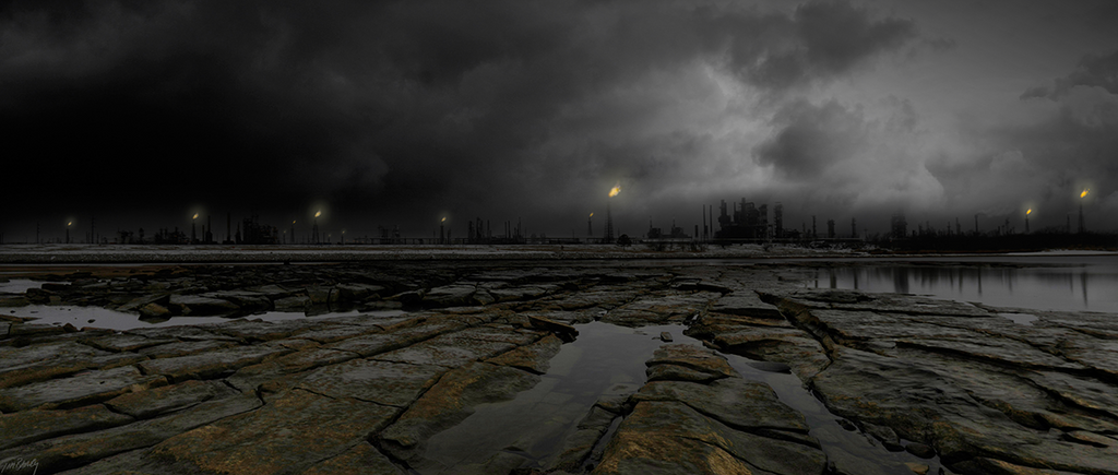Eternal Winter - dark industrial oil refinery post apocalyptic photograph composite
