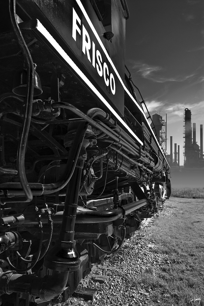 Frisco - black and white photograph of an abandoned industrial train