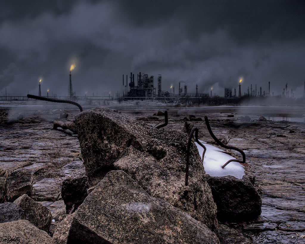 Laid To Waste - industrial oil refinery post apocalyptic photo composite