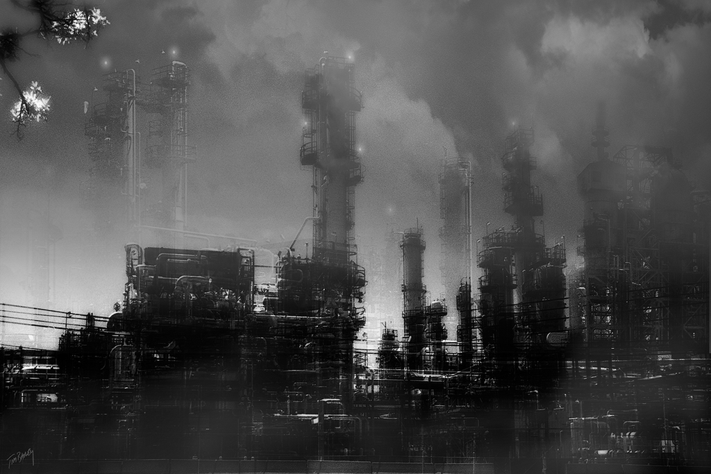 Night Shift - black and white industrial oil refinery post apocalyptic infrared photo composite