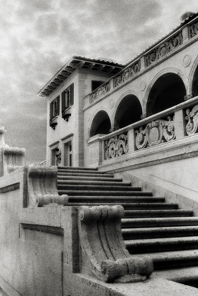 Philbrook Museum - in Tulsa Oklahoma - black and white infrared architecture photograph