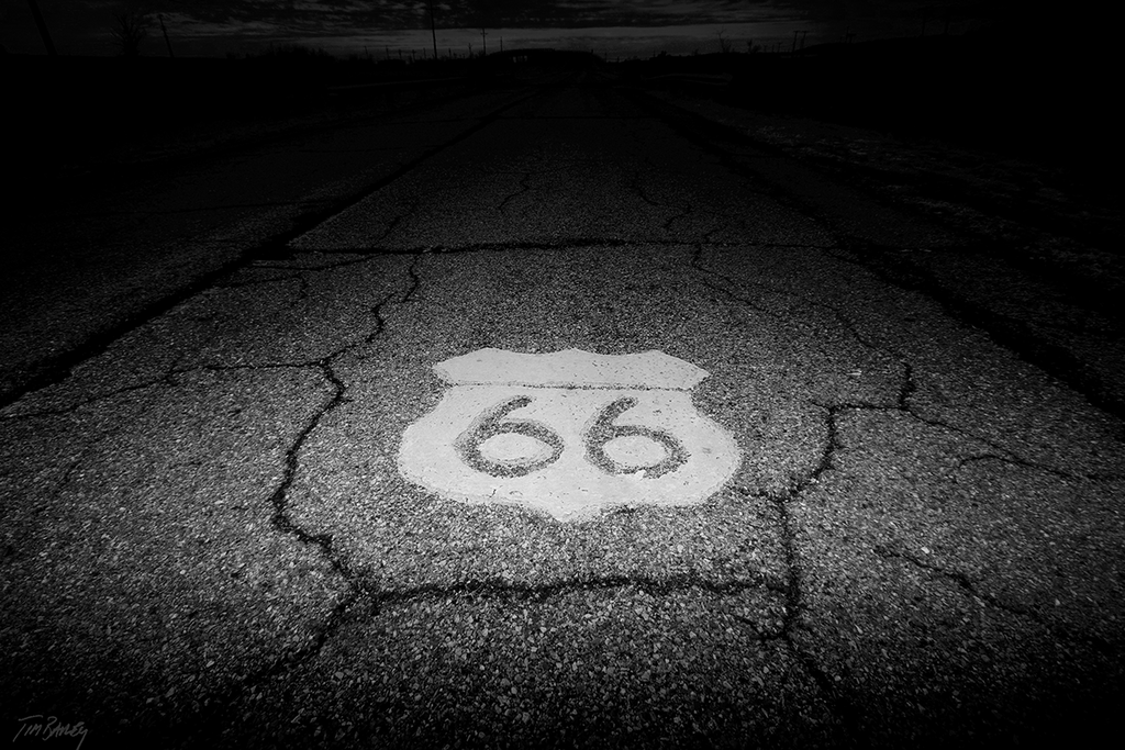 Route 66 -  black and white photograph of the original highway