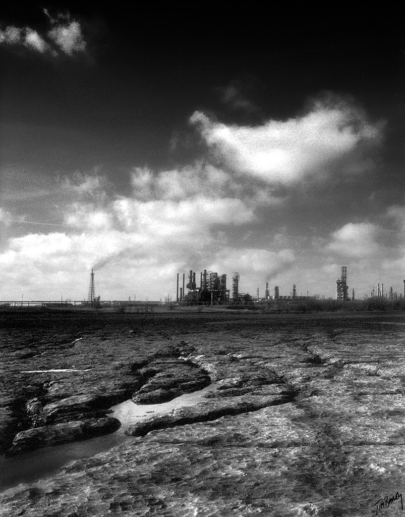 black and white oil refinery - infrared photograph