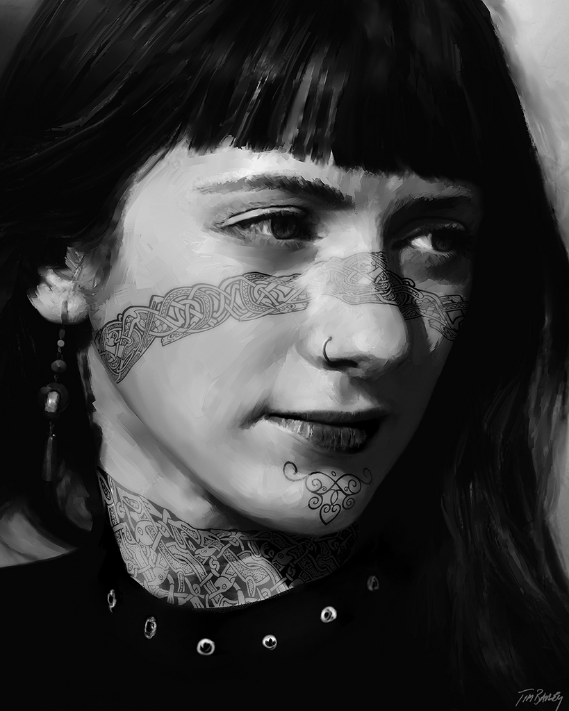 Tattooed Girl - black and white digital portrait painting of a Nordic Viking Celtic woman