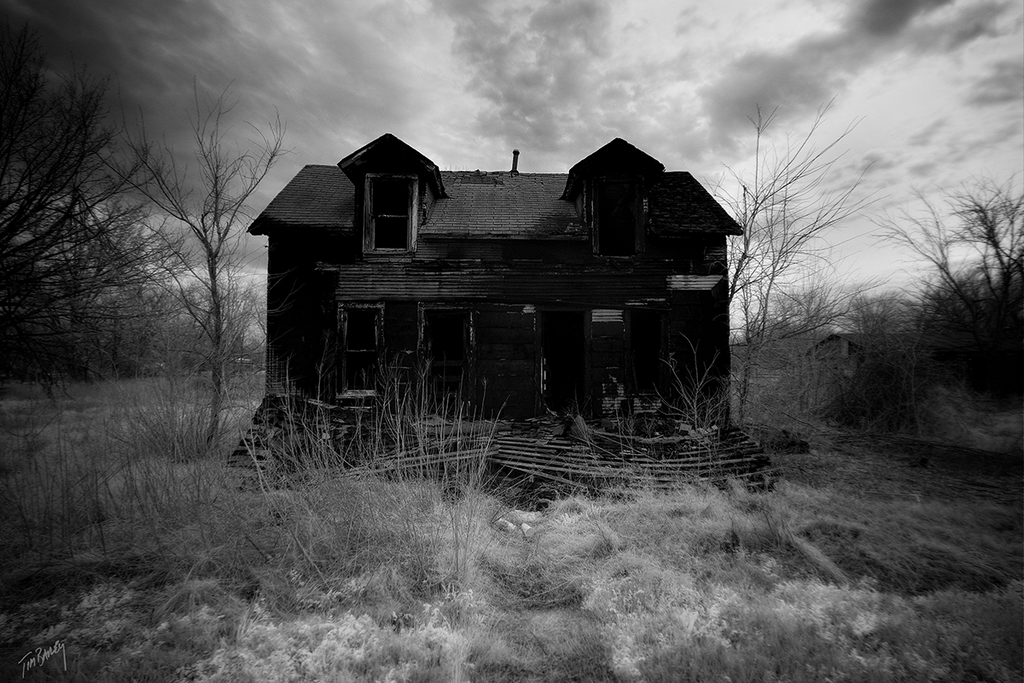 The Neighbors - dark black and white infrared photograph - rural abandoned house
