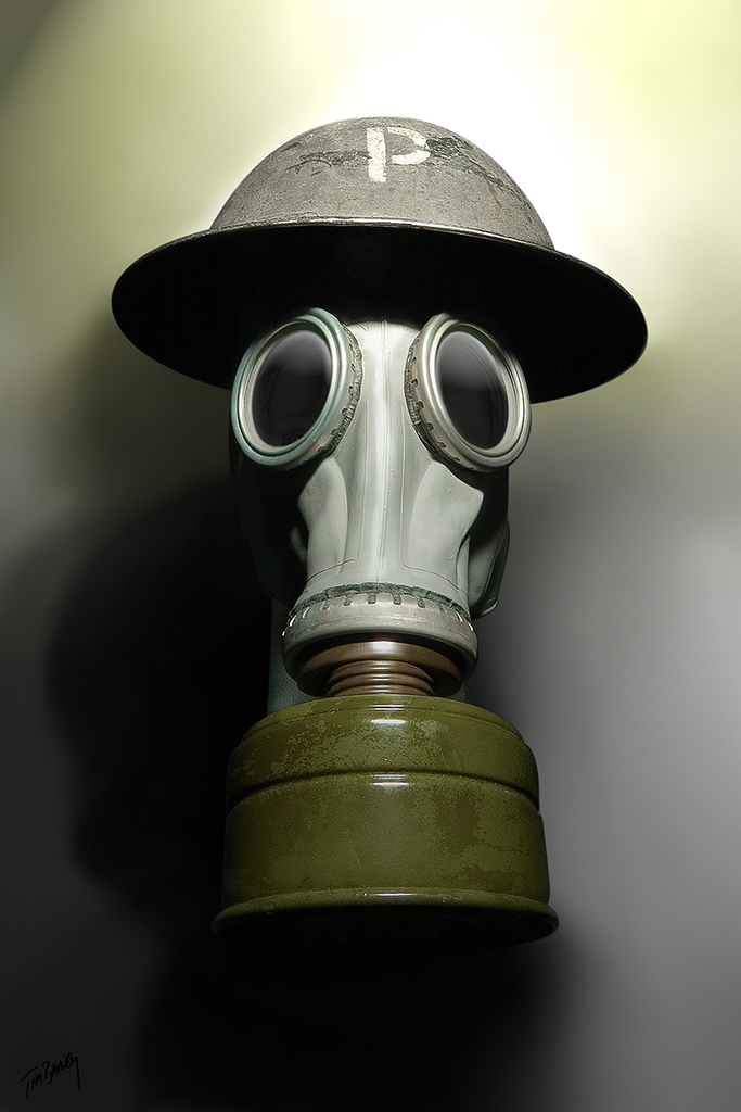 Tommy #1 - British WW1 helmet and gas mask digital photo composite