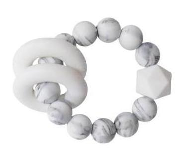 Halo Teether | Marble + White