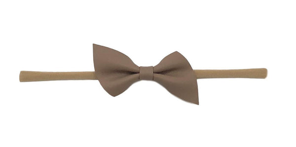 Leather Skinny Bow | Taupe