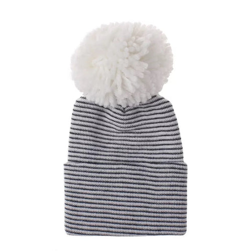 Newborn Pom Hat | Black + White Striped