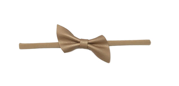 Leather Skinny Bow | Bronze