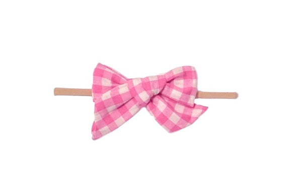 Plaid Skinny Bow | Pink + Off White