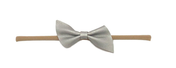 Leather Skinny Bow | Silver