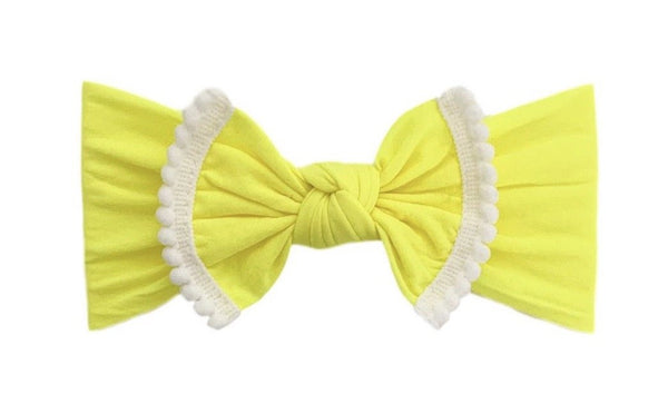 Pom Pom Everything Knot | Neon Yellow with White