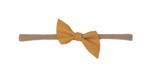 Leather Skinny Bow | Mustard