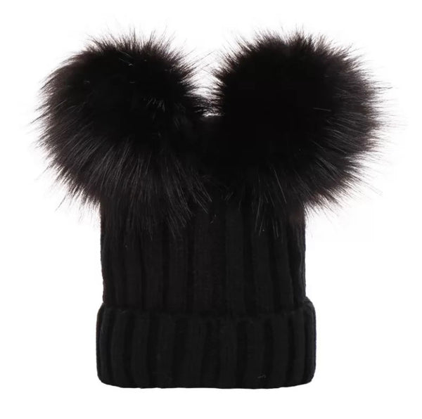Pom Pom Winter Hat | Black