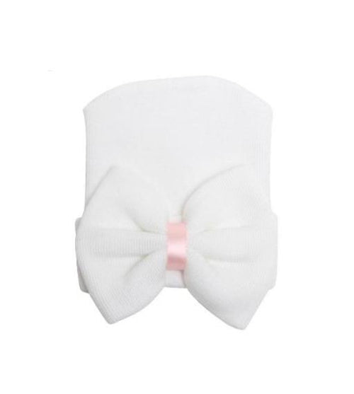 Newborn Bow Hat | White