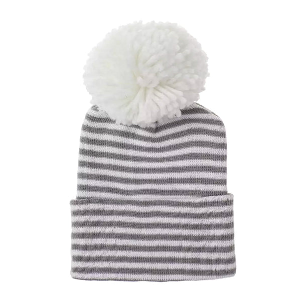 Newborn Pom Hat | Gray + White Stripe