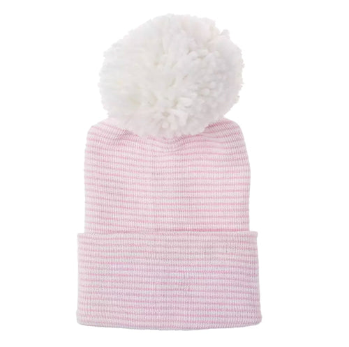Newborn Pom Hat | Pink + White Striped