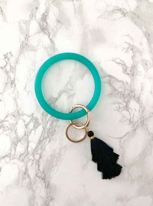 Silicone Key Ring Bracelet | Bright Teal