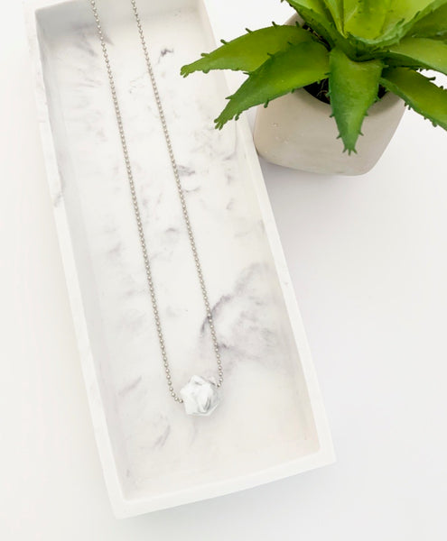 Silver Chain Teething Necklace | Marble