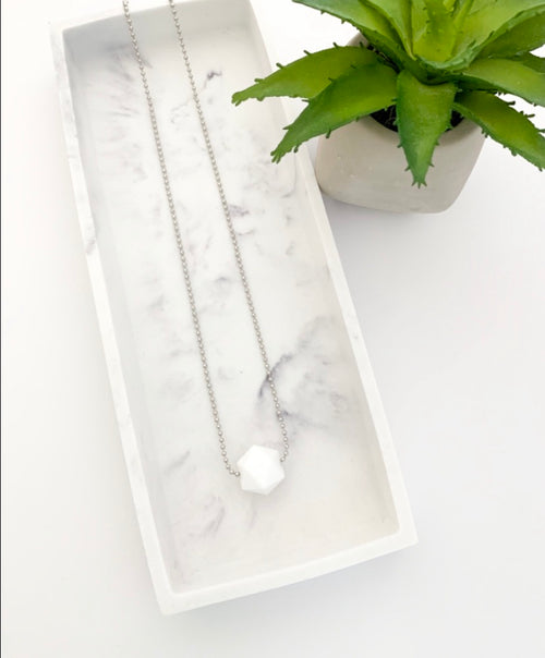Silver Chain Teething Necklace | White