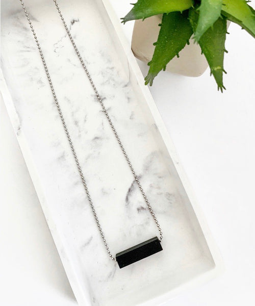 Silver Chain Teething Bar Necklace | Black