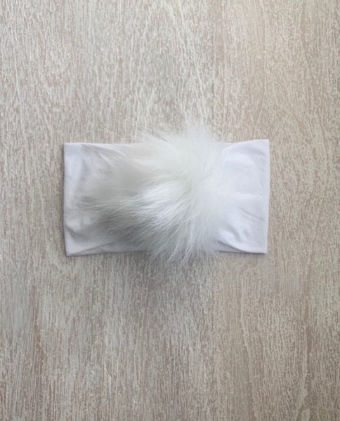 Everything Fur Pom Headband | White