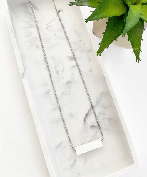 Silver Chain Teething Bar Necklace | White