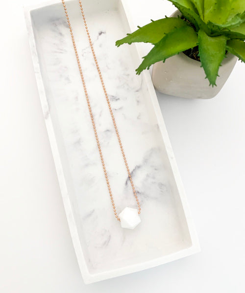 Rose Gold Chain Teething Necklace | White