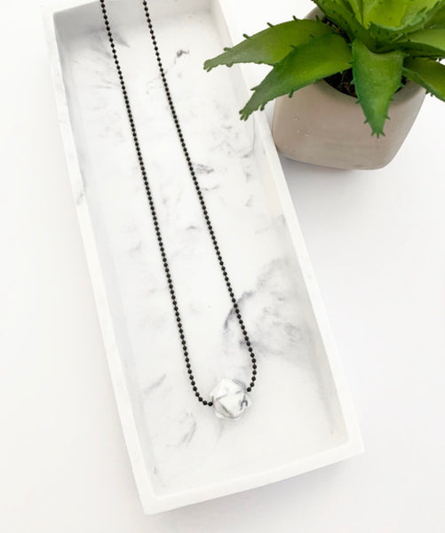 Black Chain Teething Necklace | Marble