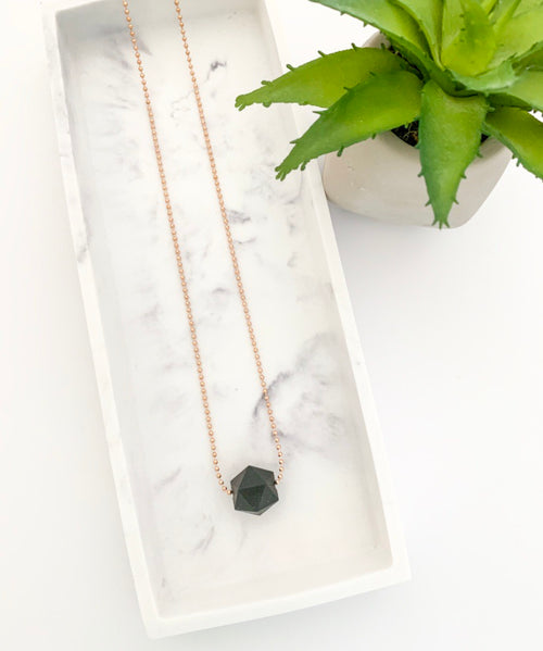 Rose Gold Chain Teething Necklace | Black